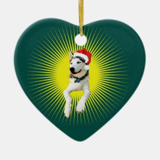 Noël de costaud sibérien ornement cœur en céramique