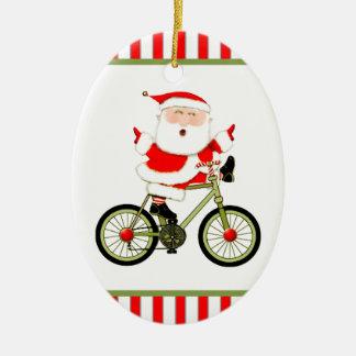 Noël de cycliste ornement ovale en céramique