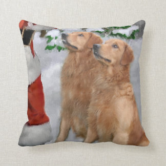 Noël de golden retriever coussin