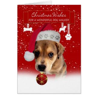 Noël de marcheur de chien souhaite la carte de