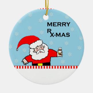 Noël de pharmacien ornement rond en céramique