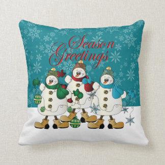 Noël des amis   de bonhommes de neige de coussins carrés