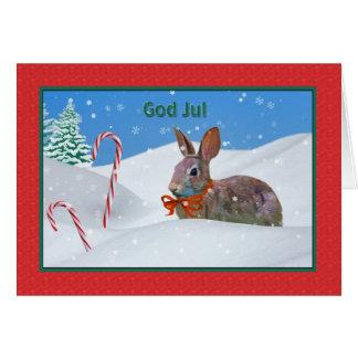 Noël, Dieu juillet, Norvégien, lapin, neige, carte