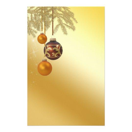 Noël d'or élégant - en-tête de lettre de papeterie