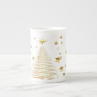 Noël d'or réglé - tasse de porcelaine tendre