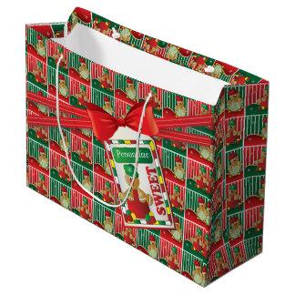 Noël doux des bonhommes en pain d'épice | grand sac cadeau