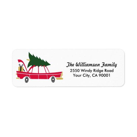Noël drôle de famille apportant à la maison étiquette d'adresse retour