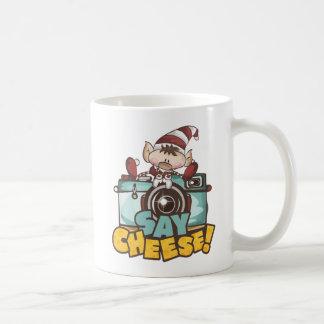 """Noël Elf - tasse de café """"dites fromage"""""""