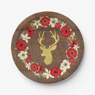 Noël floral rouge en bois de cerfs communs d'or de assiettes en papier
