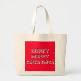 Noël lumineux de rouge de joyeux concepteur de sac en toile jumbo