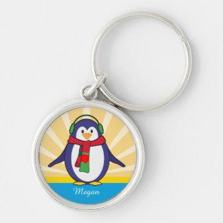 Noël mignon de pingouin avec votre nom porte-clé rond argenté