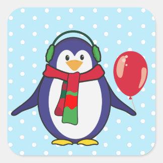 Noël mignon de pingouin avec votre nom sticker carré
