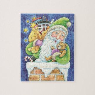 Noël mignon, le père noël dans la cheminée avec puzzle