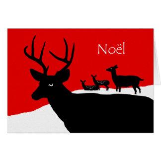 Noel, Noël en français, famille de cerfs communs Carte De Vœux