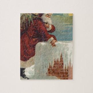 Noël - Père Noël descendant la cheminée Puzzle
