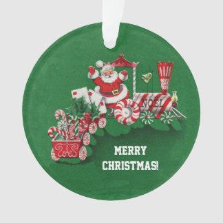 Noël Père Noël montant le train de sucrerie de