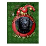 Noël - plate-forme les halls - Labradors - mesure Carte Postale