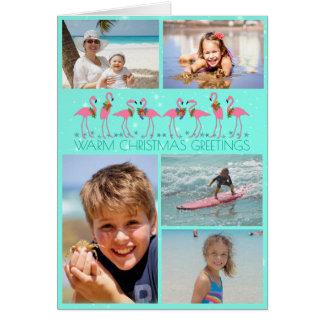 Noël plié par collage de photo de flamants carte de vœux