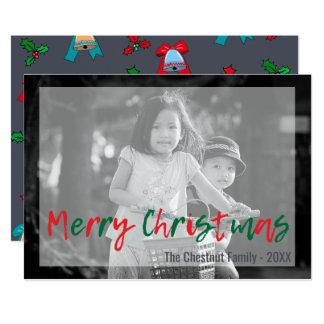 Noël rouge de vert moderne à la mode de carton d'invitation  12,7 cm x 17,78 cm