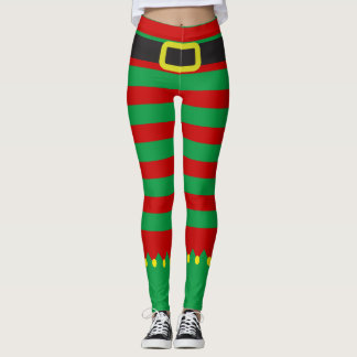 Noël rouge vert rayé de nouveauté d'Elf Leggings