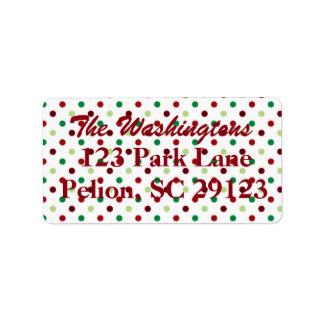 Noël vert et blanc rouge de point de polka étiquette d'adresse