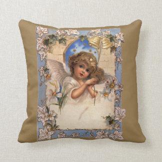 Noël vintage, ange victorien avec de l'or Bells Coussin