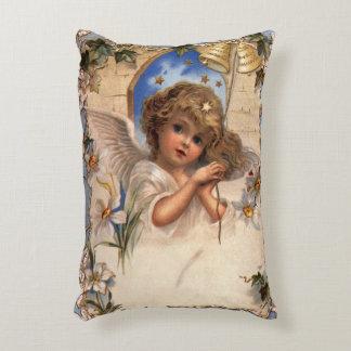 Noël vintage, ange victorien avec de l'or Bells Coussins Décoratifs