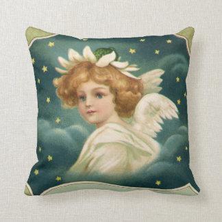 Noël vintage, ange victorien avec des étoiles d'or oreillers