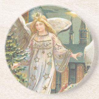 Noël vintage, ange victorien avec l'arbre dessous de verre en grès