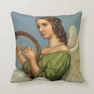 Noël vintage, ange victorien avec l'harpe de coussin décoratif