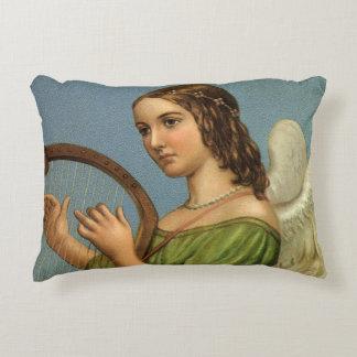 Noël vintage, ange victorien avec l'harpe de coussins décoratifs