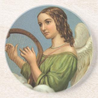 Noël vintage, ange victorien avec l'harpe de dessous de verre en grès