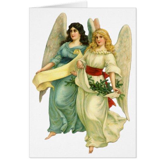 Noël vintage, anges victoriens angéliques carte de vœux