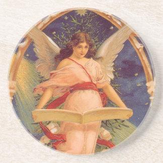 Noël vintage, bible victorienne de lecture d'ange dessous de verre en grès