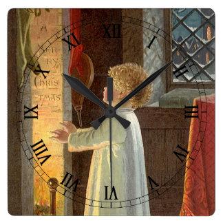 Noël vintage, enfant chauffant par la cheminée horloge carrée