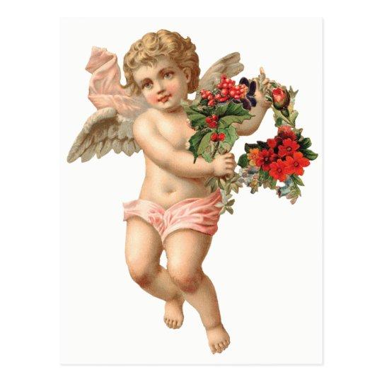Noël vintage, guirlande florale victorienne de carte postale