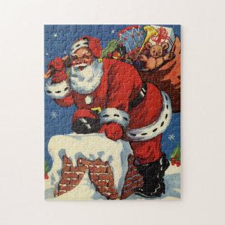 Noël vintage, la cheminée W du père noël vers le Puzzle