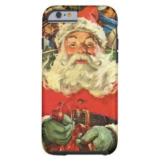 Noël vintage, le père noël dans Sleigh avec des Coque iPhone 6 Tough