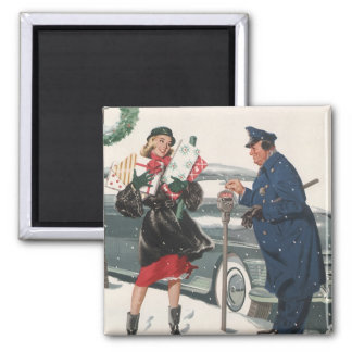 Noël vintage, policier de achat de présents magnets pour réfrigérateur