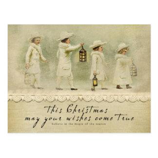 Noël vintage souhaite la carte postale