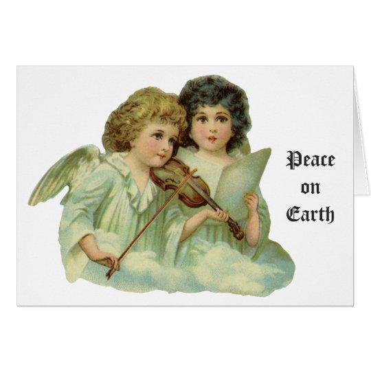 Noël vintage, violon victorien de musique d'anges carte de vœux