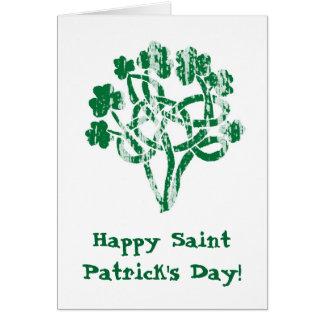 Noeud heureux de Celtic de trèfles du jour de Carte De Vœux