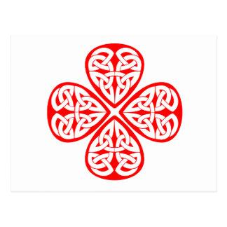 noeud rouge de celtic de shamrock carte postale