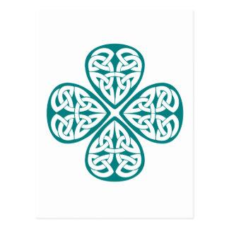 Noeud turquoise de Celtic de shamrock Carte Postale