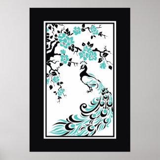 Noir, aqua, paon blanc et fleurs de cerisier