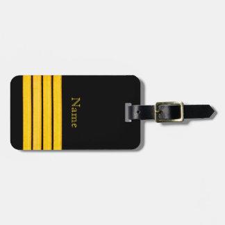 Noir avec quatre rayures nautiques jaunes de style étiquette pour bagages