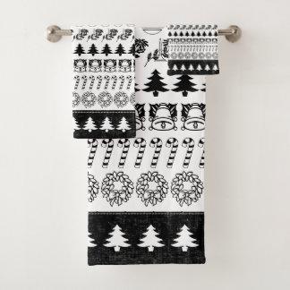 Noir/blanc rame le motif d'art de police de Noël