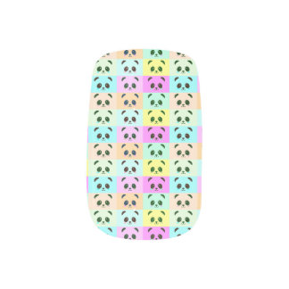 Noir bleu de jaune orange de rose d'ours panda stickers pour ongles