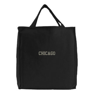 Noir brodé de sac fourre-tout à Chicago