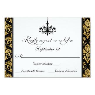 Noir, damassé d'or, carte- de réponse de lustre carton d'invitation 8,89 cm x 12,70 cm